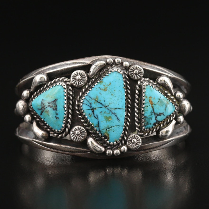 Southwestern Sterling Turquoise Appliqué Stampwork Cuff with Wire Detail