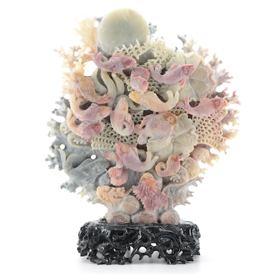 Chinese Carved Soapstone Sculpture of Tropical Fish in Coral Reef