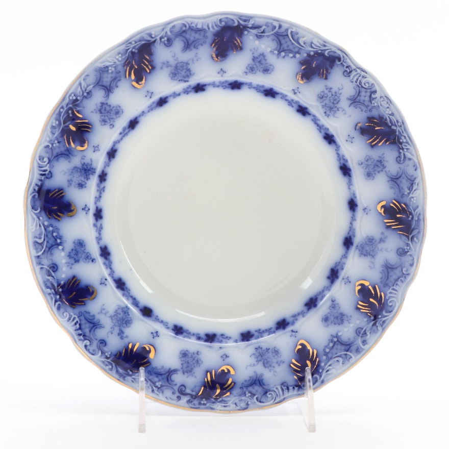 """Johnson Brothers """"Astoria"""" Flow Blue Ironstone Rimmed Low Bowl, Early 20th C."""