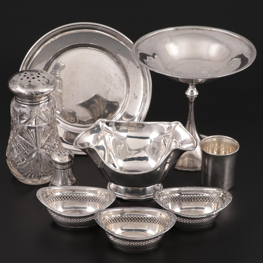Gorham Sterling Silver Pierced Nut Bowls and Other Table Accessories
