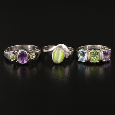 Sterling Rings with Amethyst, Cat's Eye Glass, Peridot and Topaz