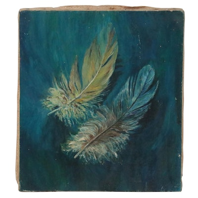 Patrice Taylor Oil Painting of Feathers, circa 1975