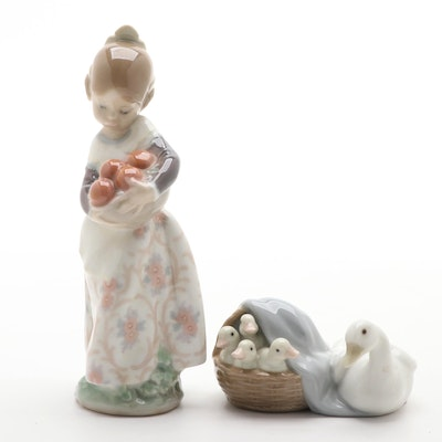 "Lladró ""Valencian Girl"" and ""Ducklings"" Porcelain Figurines"