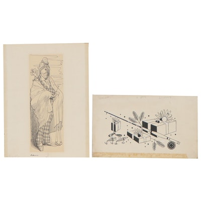 Attributed to John Dan Drawing of Fishing Gear and Figural Lithograph