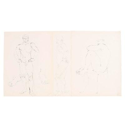John Tuska Figural Ink Drawings, 1971