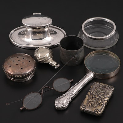 A & J Zimmerman Sterling Silver Inkwell and Other Accessories, Early-Mid 20th C.