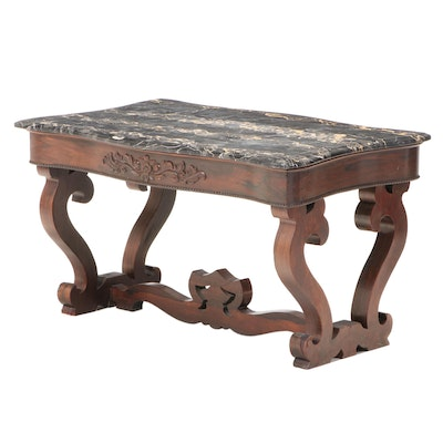 American Classical Rosewood and Marble Top Coffee Table, circa 1830 and Adapted