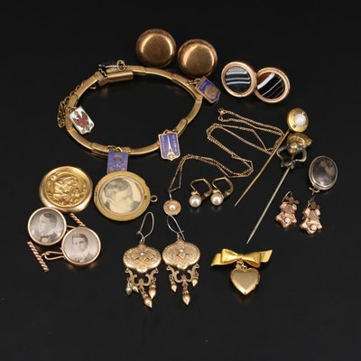 Antique and Vintage Jewelry Selection Featuring Victorian Earrings and Cufflinks