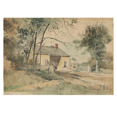 George Howell Gay Watercolor Painting of a House, 1897