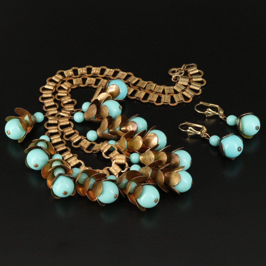 1940s Faux Turquoise Fringe Necklace and Earring Set