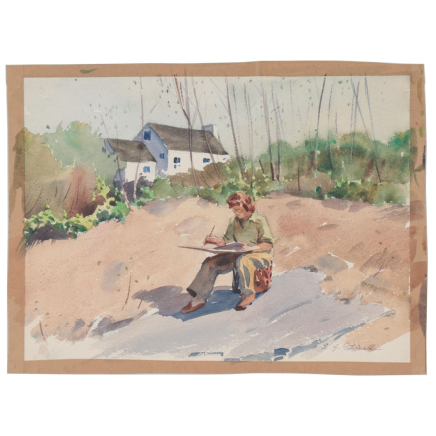 "Edmond J. Fitzgerald Watercolor Painting ""Artist at Work"""