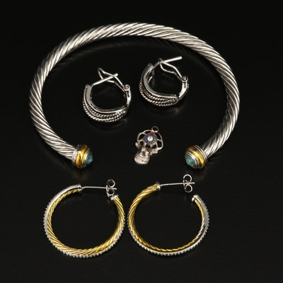 Rhinestone and Cubic Zirconia Cuff, Hoop Earrings and Charm