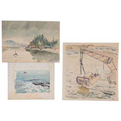 Edmond J. Fitzgerald Watercolor Paintings of  Harbor and Coastal Scenes