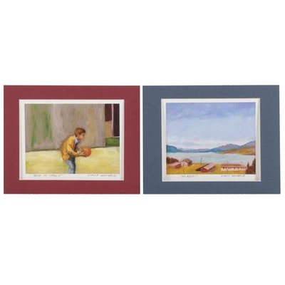 "Vince Ornato Giclées ""Boy in Italy"" and ""To Assisi,"" 21st Century"