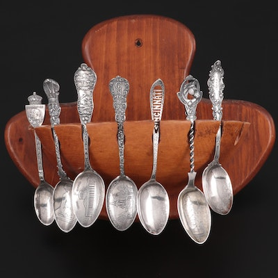 Sterling Silver and Silver Plate Souvenir Spoons with Wood Spoon Rack