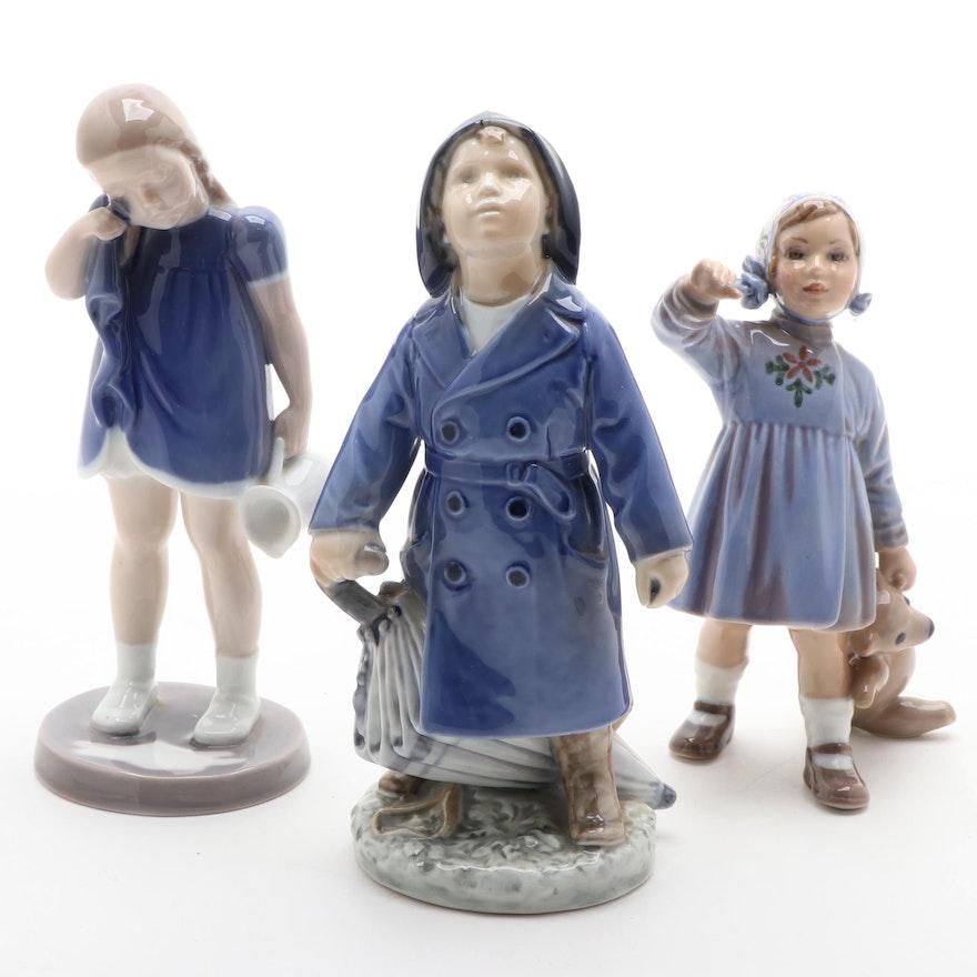 "Royal Copenhagen ""Will it Rain?"" and ""Spilt Milk"" with Other Porcelain Figurine"
