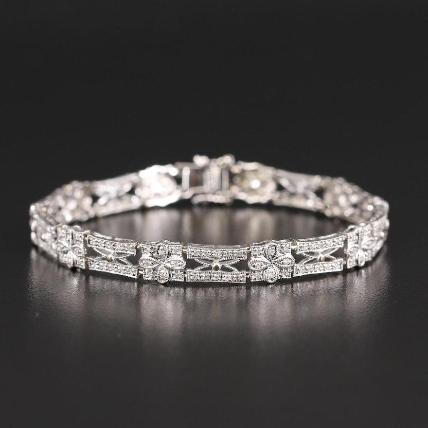 14K Diamond Openwork Bracelet