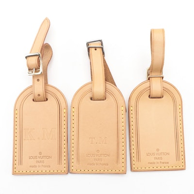 Louis Vuitton Monogrammed Luggage Tags in Vachetta Leather