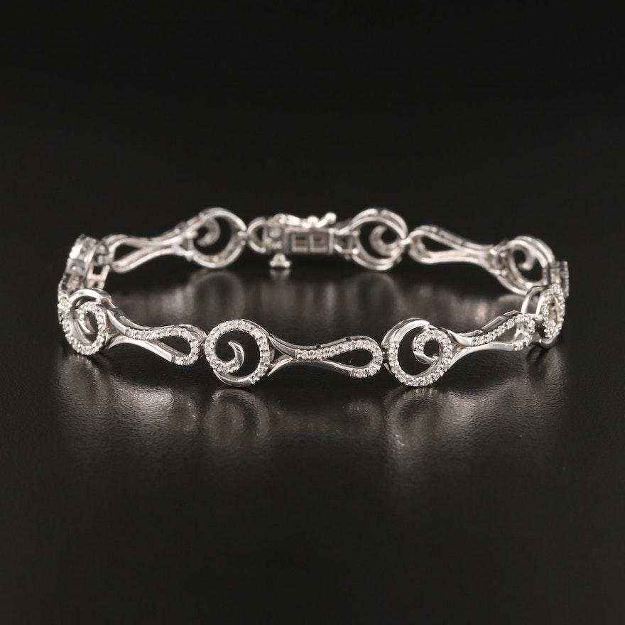 14K Diamond Fancy Link Bracelet