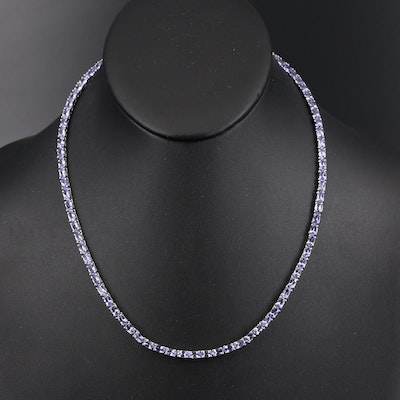 Sterling Tanzanite Line Necklace