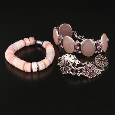 Sterling Bracelets Including Garnet, Amethyst, Chalcedony and Opal