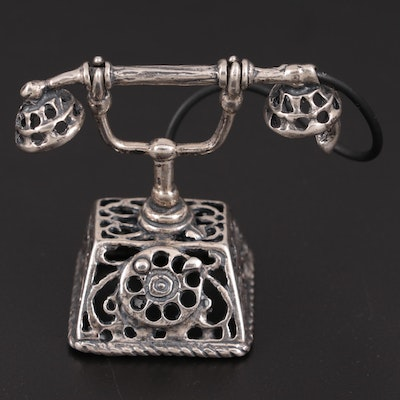 Italian Sterling Silver Miniature Telephone, Mid-20th Century