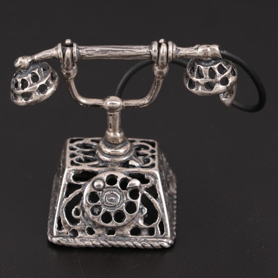 Italian Sterling Silver Miniature Telephone, Mid-20th Century