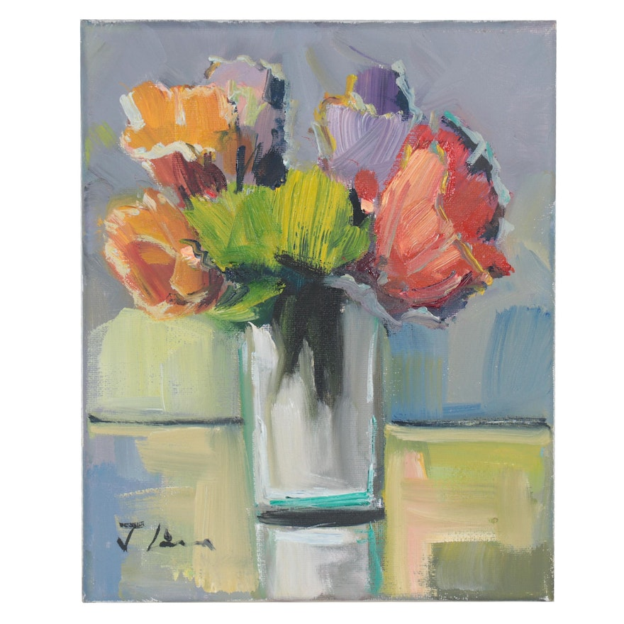 José Lima Floral Still Life Oil Painting, 2021