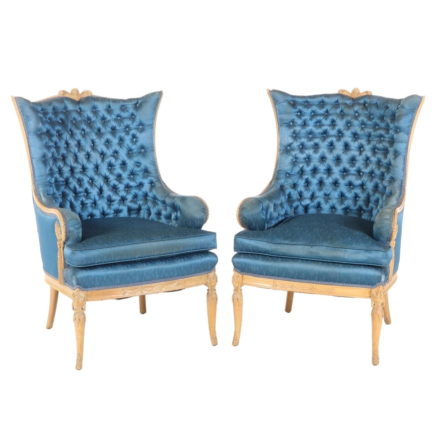 Neoclassical Style Carved Birch Tufted Upholstered Arm Chairs, Early 20th C.