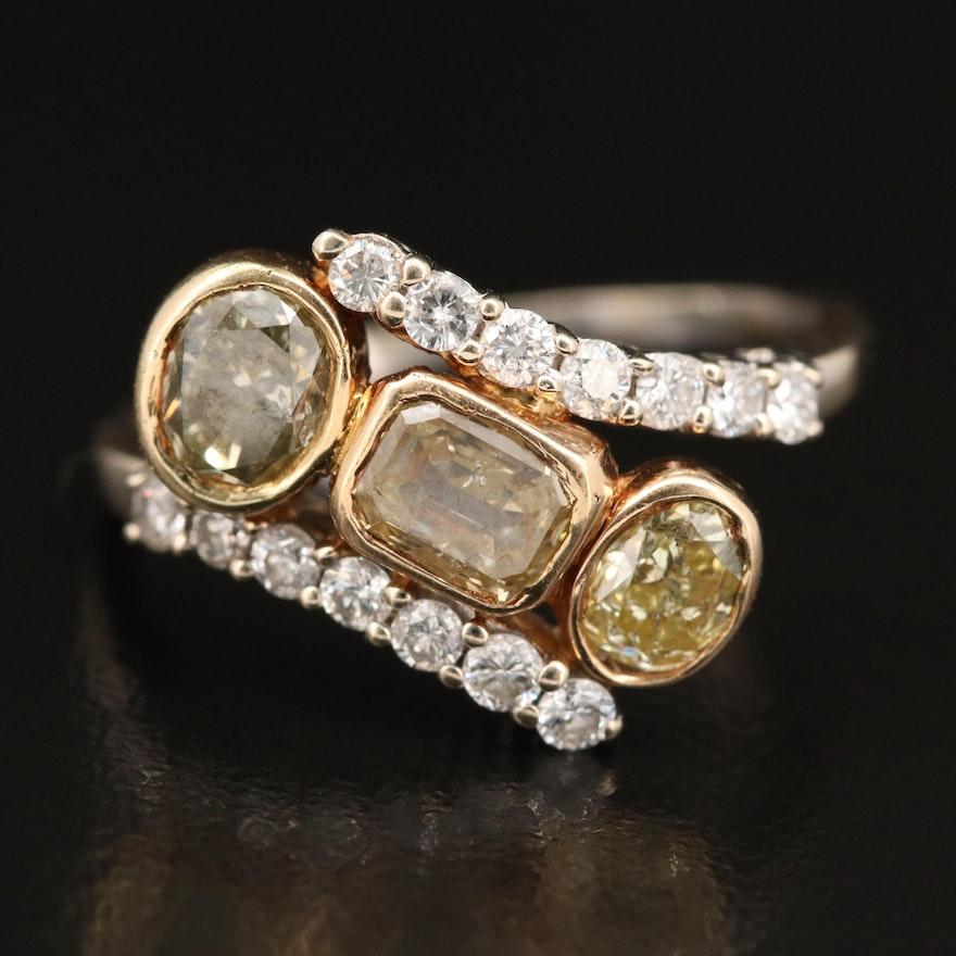 18K 2.16 CTW Diamond Bypass Ring