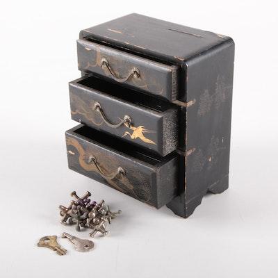 Japanese Lacquer Three Drawer Dresser Box