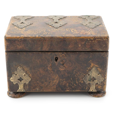 Faux Painted Burlwood Tea Caddy with Ornate Metal Mounts, Mid to Late 19th C.