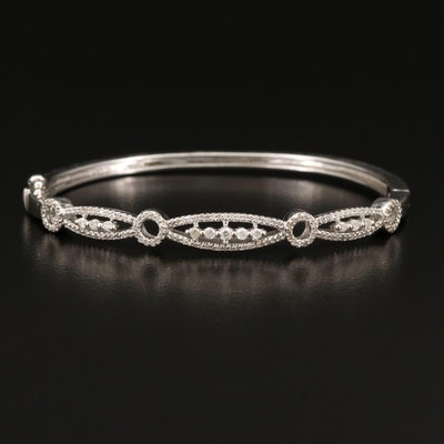 14K Diamond Hinged Bangle