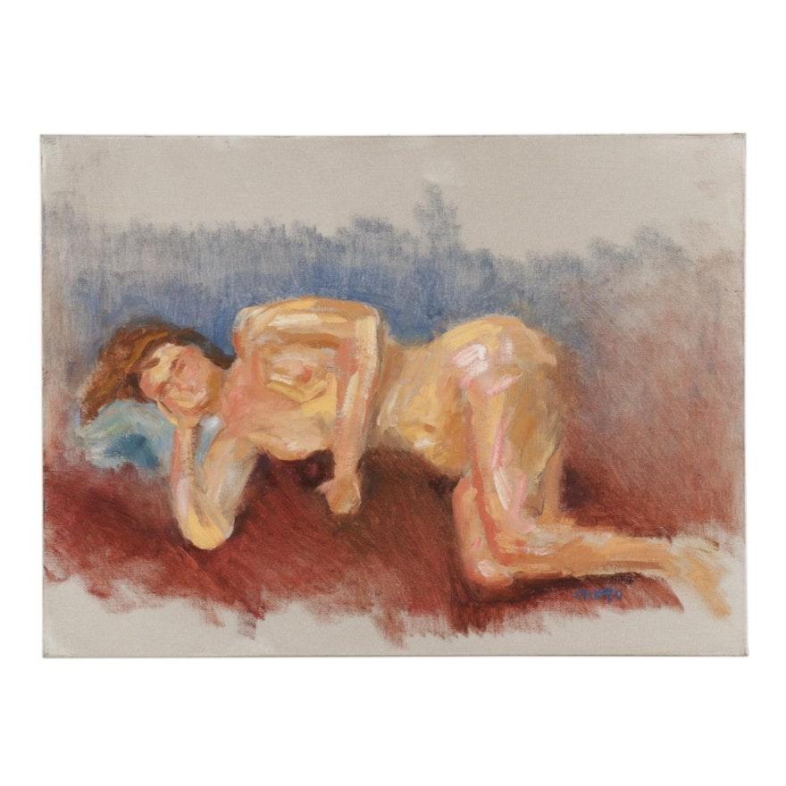 "Vince Ornato Portrait Oil Painting ""Reclining"""