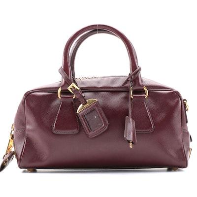 Prada Bauletto Burgundy Saffiano Leather Two-Way Satchel