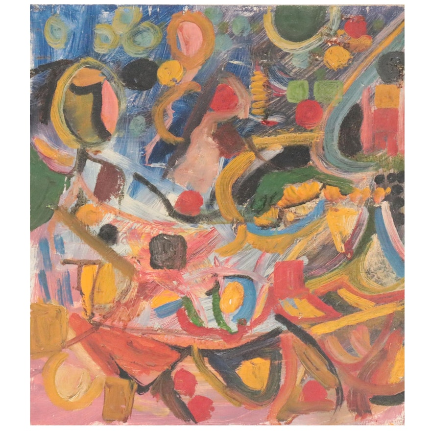 Chuck Barr Abstract Oil Painting, Mid to Late 20th Century