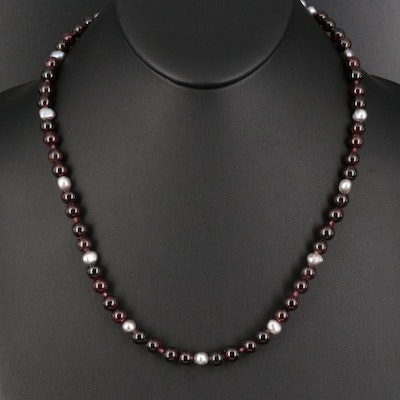 Sterling Garnet and Pearl Necklace with Cubic Zirconia Clasp