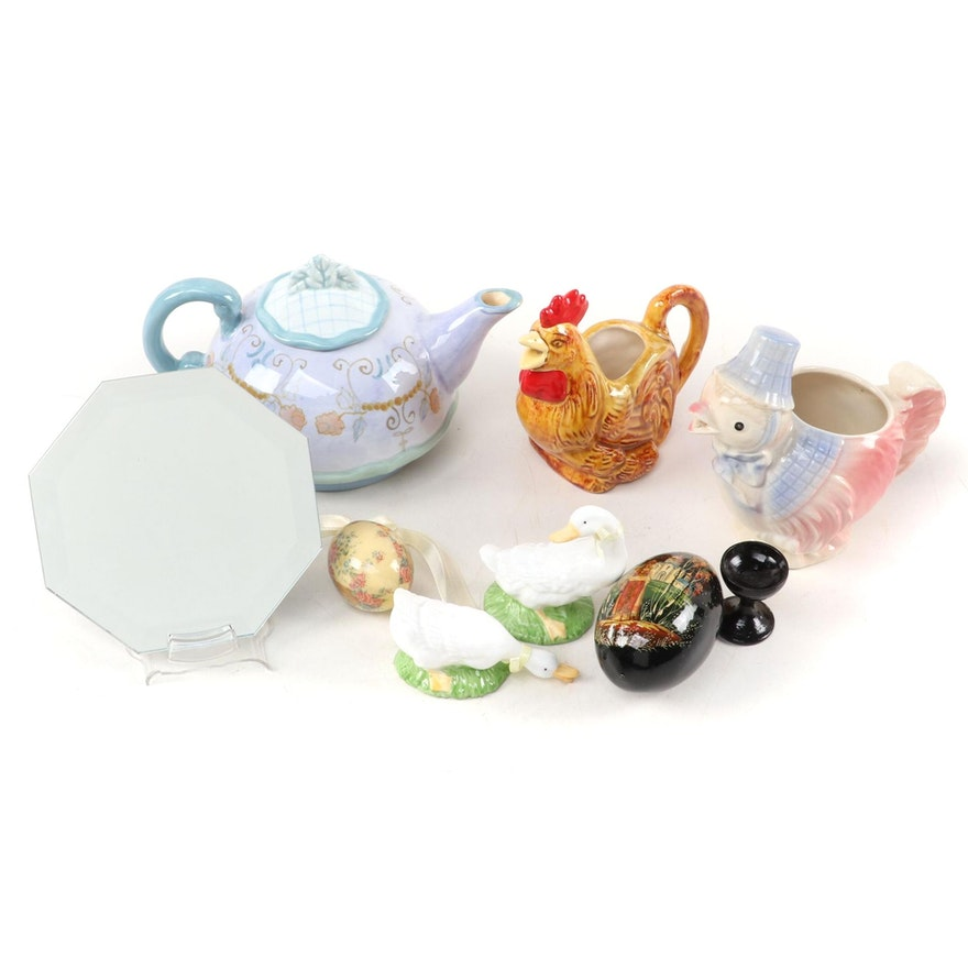 Tracy Porter Ceramic Tea Pot, Paulding Chick Creamer and Other Items
