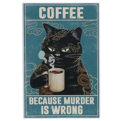 Giclée of a Black Cat Drinking Coffee, 21st century