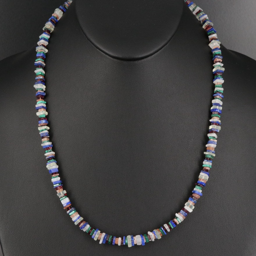 Lapis Lazuli, Garnet and Gemstone Beaded Necklace with Sterling Clasp