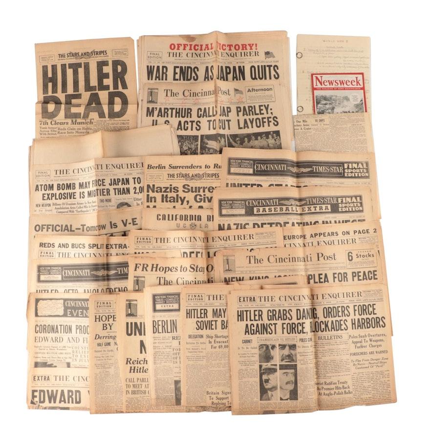 Cincinnati Newspaper Front Pages Featuring World War II Headlines