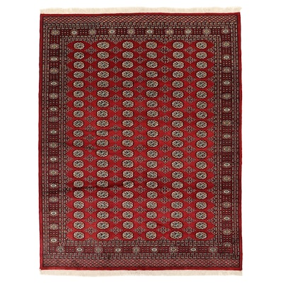 8'0 x 10'6 Hand-Knotted Pakistani Turkmen Wool Area Rug