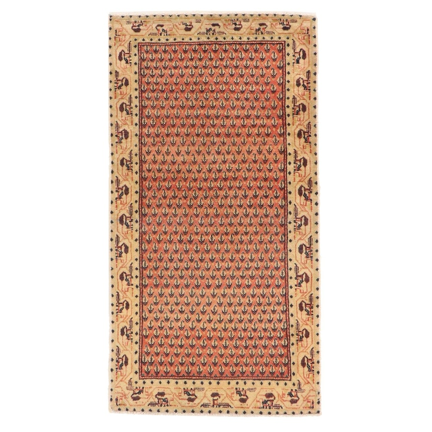 2'5 x 4'7 Hand-Knotted Persian Sarouk Accent Rug