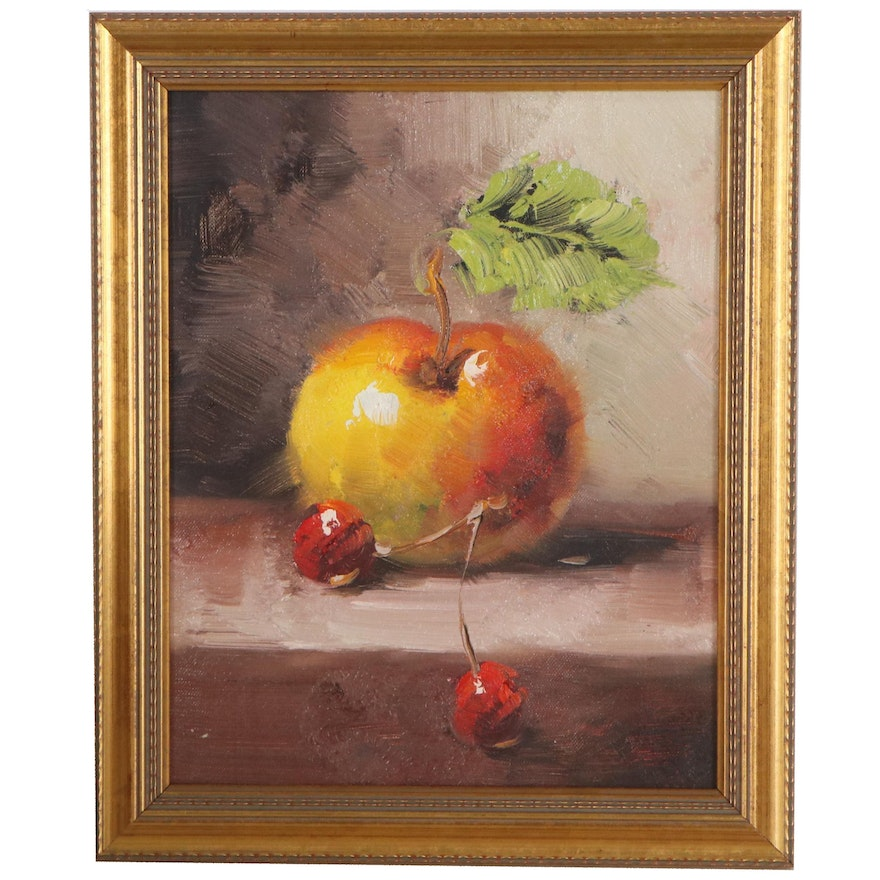 Still Life Oil Painting of Apple and Cherries, 21st Century