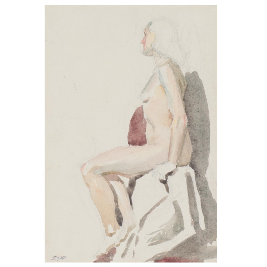 Edmond J. Fitzgerald Watercolor Painting of Seated Female Nude