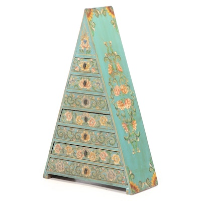 Asian Paint-Decorated Seven-Drawer Pyramid Chest