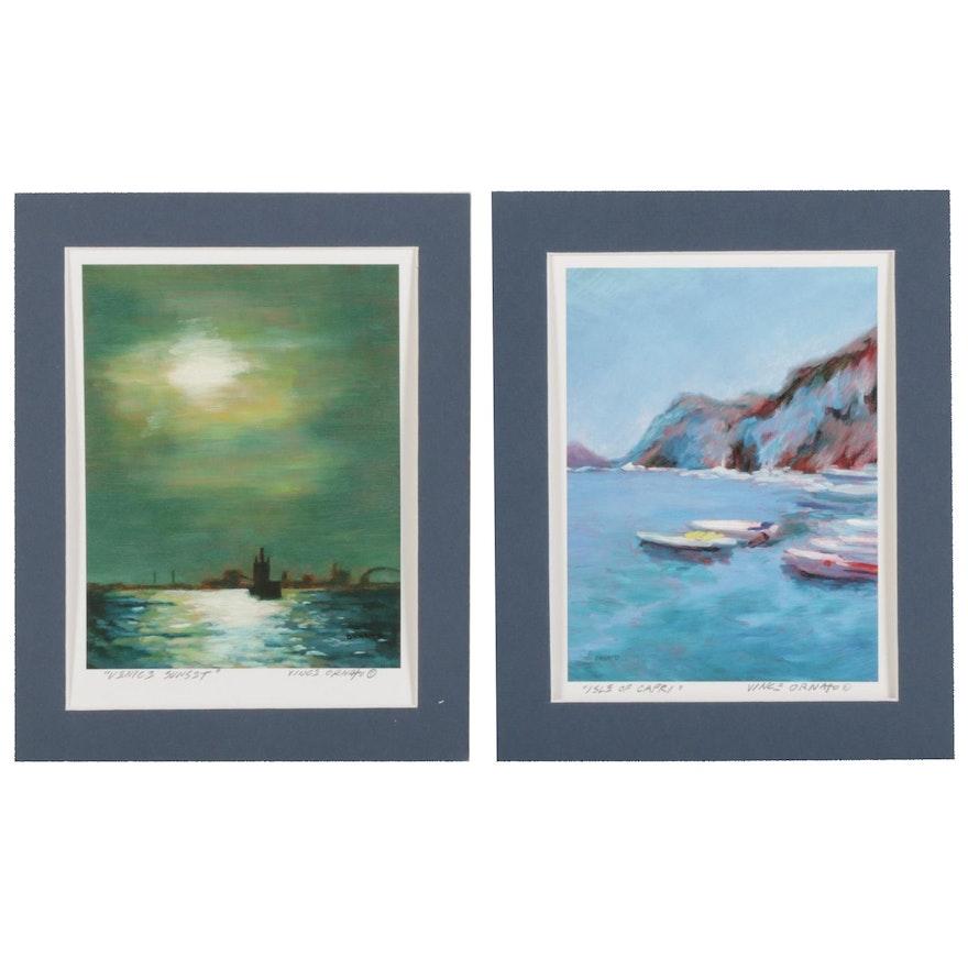 "Vince Ornato Giclées ""Isle of Capri"" and ""Venice Sunset"""