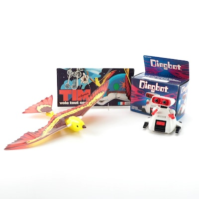 """Tomy """"Dingbot"""" Robot and Unisys """"Tim"""" Flying Bird Toy in Original Packaging"""