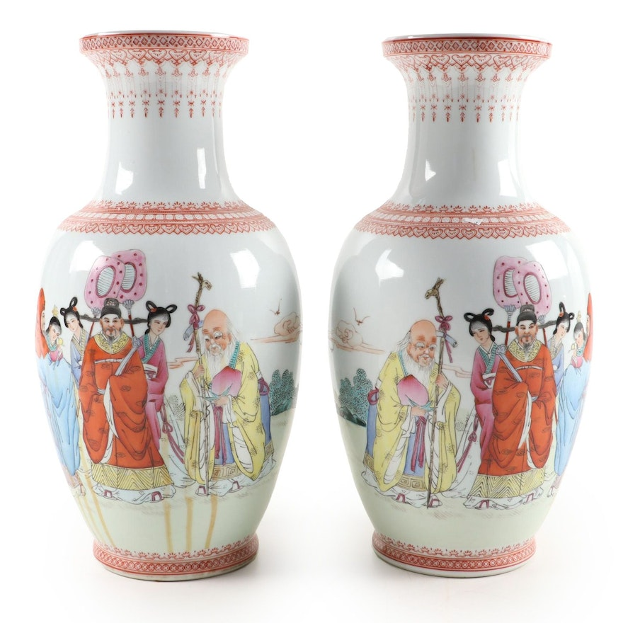 Chinese Porcelain Vases with Sanxing Deities