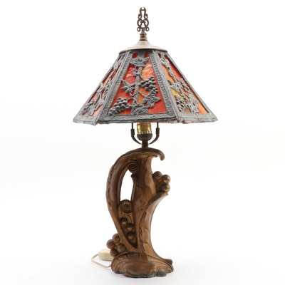 Tiffany Style Slag Glass Gilt Metal Art Nouveau Table Lamp